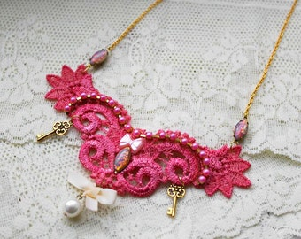 SALE - Sweet Lolita Lace Choker Style Necklace - Cotton Candy Pink