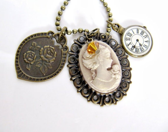 Cameo pendant necklace, jewelry, charms, romantic, vintage style