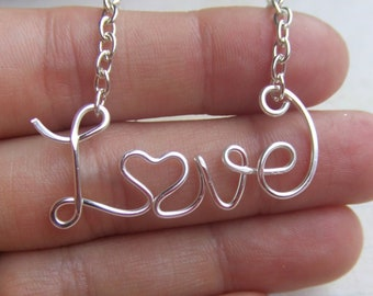 Love Necklace Personalized Name Necklace Silver Up to 9 Letters Wire Word Necklace Word Jewelry Wire Wrapped Grad Gifts Under 20