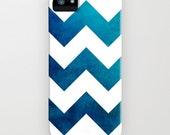 Geometric Phone Case - Tribal Teal Blue Chevron Watercolor - Designer iPhone Samsung Case