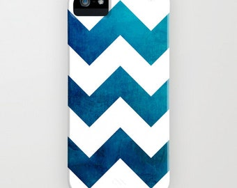 Geometric Phone Case - Tribal Teal Blue Chevron Watercolor - Designer iPhone Samsung Case