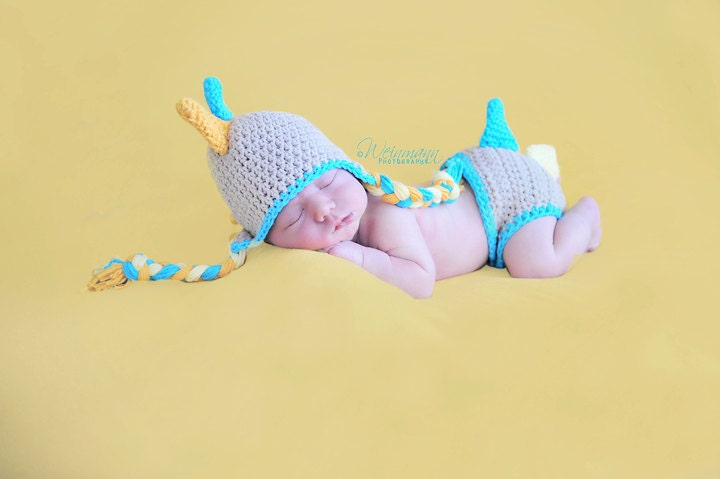 Crochet Dinosaur Hat And Diaper Cover Pattern : Dinosaur hat and diaper cover crochet dinosaur by ...