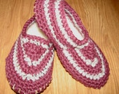 Comfy Crocheted Adult Slippers w/ Sheepskin Lining & Leather Sole