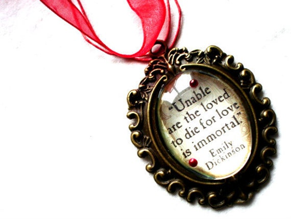 Emily Dickenson Quote Ornate Necklace Vampire Halloween 30x40MM