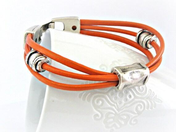 Orange triple leather zamak bracelet