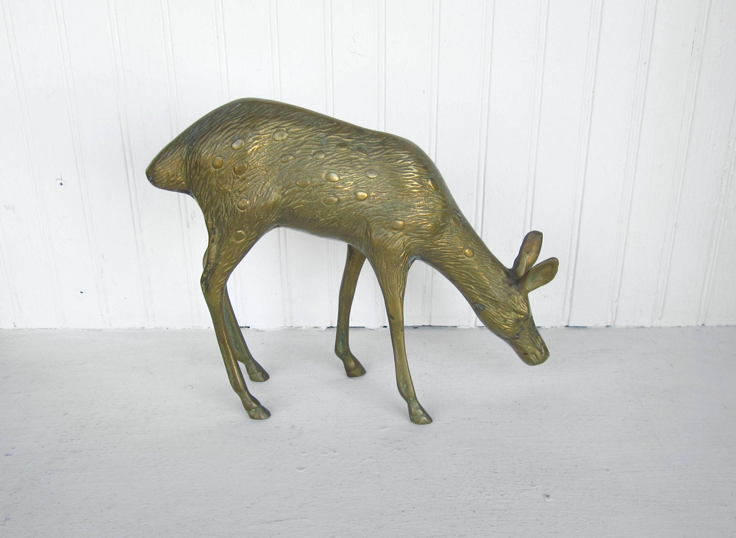 Vintage Brass Deer Figurine For Home Decor Display By