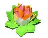 Handmade lotus blossom origami in pastel shades one flower