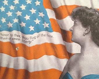 Antique 4th of July Postcard - American Flag - Woman - Independence Day - Freedom - Liberty