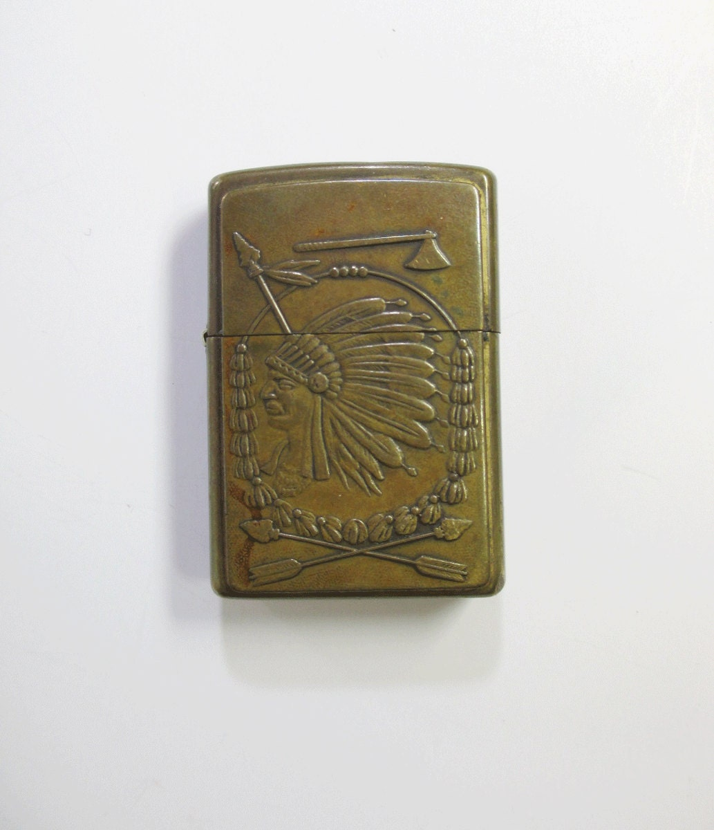 Vintage Indian Chief Zippo Lighter Brass Tobacciana