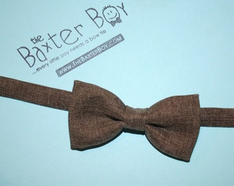 Brown Heather polyester little boy bow tie - photo prop, wedding, ring bearer, accessory