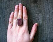 Adjustable Rectangle Pottery Ring- Vintage Grape