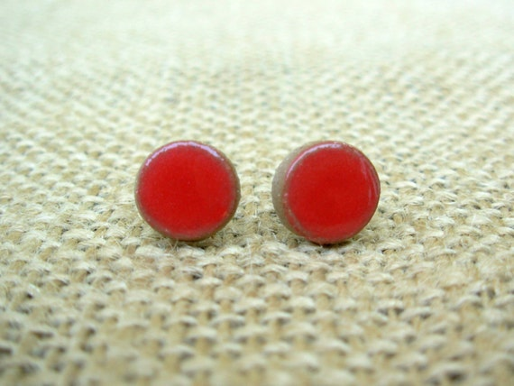 Pottery Post Earrings- Coral Red