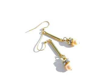 Long Vintage Rhinestone Pearl Earrings, Dangles by dabchickvintagegems on Etsy