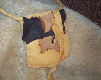 Sale Hand Laced Deerskin  Deerskin Raunch Mommy Bag Pouch Small Purse Shoulder Cross Body Two Layers
