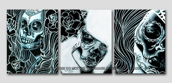 Set of three 18x24 inch poster sized art prints - Bella Morte Set Day of the Dead Sugar Skull Girls Black and White Home Decor Wall Art