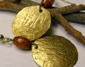 Hammered Gold Disc Earrings, Vintage Inspired, Gold, Bronze
