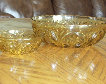 Vintage Amber Glass Chips and dip Bowl Set
