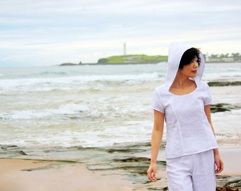 White linen blouse, Hooded Top, Women linen clothing, Women Linen blouse, Simple white blouse, White summer Blouse, Resort wear, Handmade