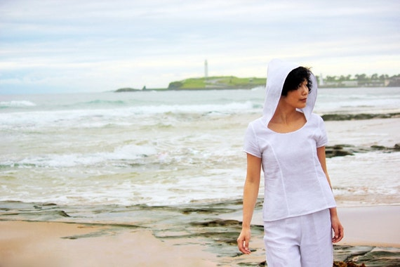 Hooded White Linen Blouse