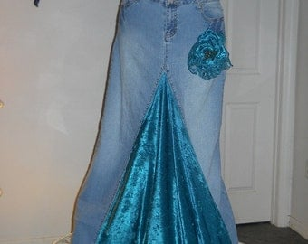 SALE Belle Époque Turquoise bohemian jean skirt teal green velvet mermaid goddess vintage lace sequins