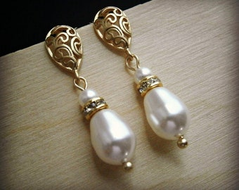 Bridal Pearl Earrings In Scrollwork Gold With White Swarovski Crystal Teardrop Pearls