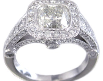 18k white gold cushion cut diamond engagement ring bezel set deco filigree 1.89ctw