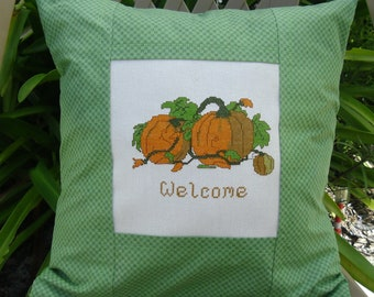 Throw Pillow Cover with Vintage Needlepoint Fall Welcome Pumpkin