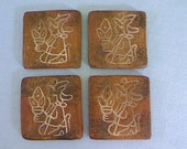 Mexican  Decorative Tiles / Set of Four / Handmade / Vintage Wall Tiles / Wall Decor / Rustic Design / Central American Art