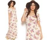 Boho Maxi Dress 70s Sundress Cream Floral 1970s Hippie Keyhole Short Puff Sleeves Open Back Empire Waist Peasant Dress / Size M Medium