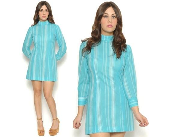 60s Mod Mini Day Dress Bright Turquoise Striped Long Sleeve Mock Collar Shift / Twiggy Gogo / Size M Medium