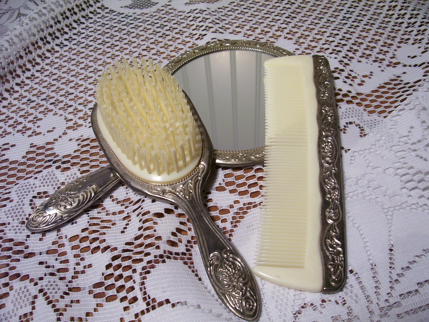 Vintage Silver Hand Mirror Brush And Comb Vanity Set