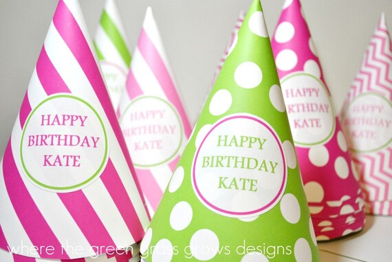 Bright Pink and Green Party Hats