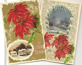 Red Poinsettias and Winter Vignettes Pair of Vintage Christmas Postcards 1912 Perfect for your Collection or Next Craft Project