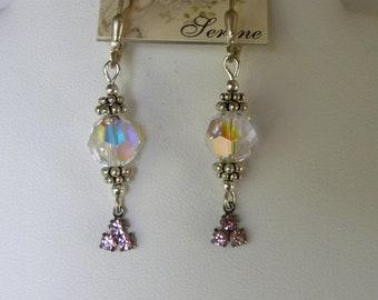 THREE Aurora Borealis Swarovski Earrings, Dangle Earrings, Pink Earrings, Dainty Dangles