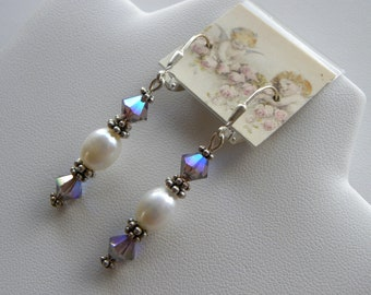 Crystal Swarovski Aurora Borealis Pearl Earrings with all Sterling Silver, Aquamarine, Rose, CHOICE OF TWO Colors