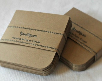 Notecards Mini, Kraft, Gift Tags, Place Cards, Square, 3 x 3, Plain, BLANK, Set of 50