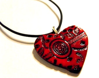 Twilight Inspired Heart Pendant with Gothic Lace Design - Love, Blood Red, Goth Jewelry, Romantic Gift, Gift for Her, Teen Girls, OOAK