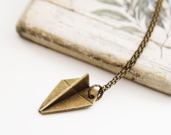 Whimsy Paper Plane Necklace. Antique Gold. Unique Gift. Unisex Gift (VNL-59)
