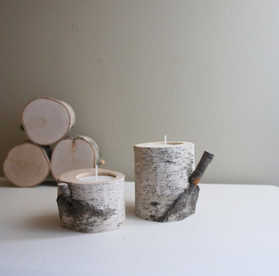 natural white birch wood candle holders - set of 2