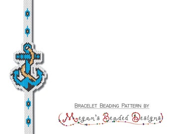 Nautical Anchor - Sculptured Brick Stitch Bracelet Beading Pattern PDF