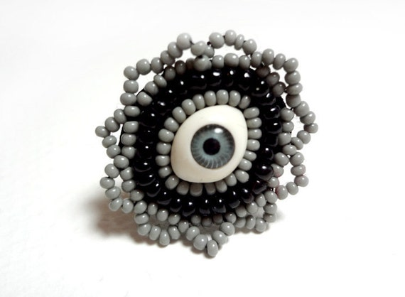 Fantasy Eye Ring in Grey and Black Beaded with an Adjustable Band