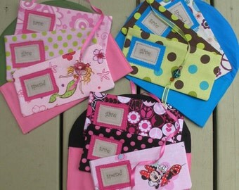 GiVe  SaVe  SpEnD -  Basic Saving Plan for Children - THREE Designer Envelopes with Velcro and CARRIER//Custom Fabrics