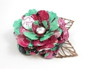 Pink Tea Rose and Copper Leaves Button Brooch/Pin.  Recycled Soda Can Art. Arizona Tea