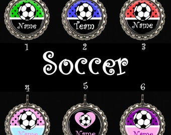 Soccer Personalized Pendant Necklace or Zipper Pull with Your Choice of Color