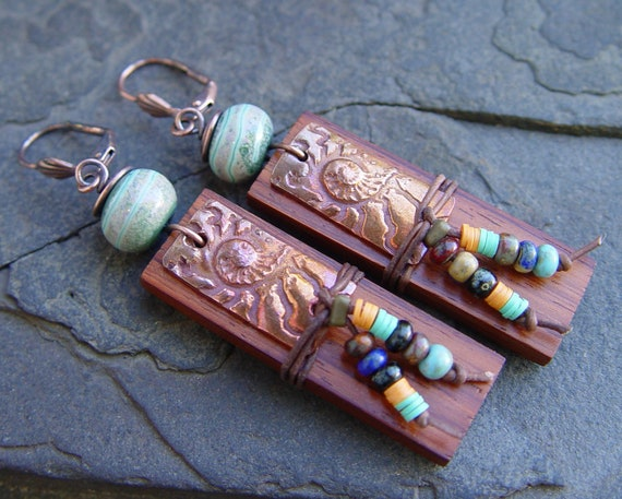 Handmade Copper Ammonite Lampwork African Beads Leather Wood Earrings Boho, Gypsy, Tribal, Beach