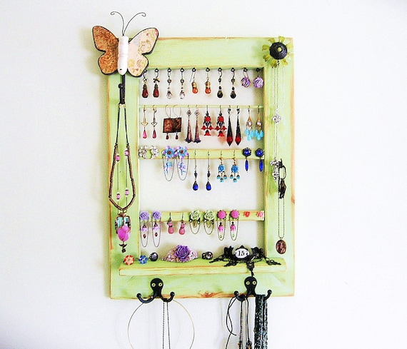 Upcycled Window Jewelry Holder, Green Jewelry Storage, Wall Hanging Jewelry Organizer, Jewelry Display - Upcycled Decor