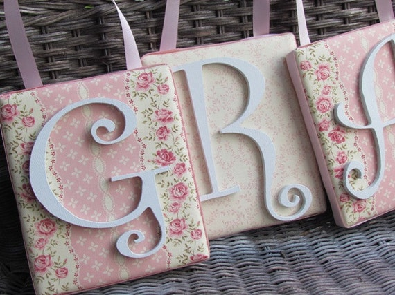6x7 shabby chic nursery letter, Rose Nursery, Personalized Nursery Decor