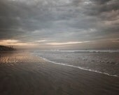 Winter Beach Photograph, Landscape Decor, Coast, Bach, California Coast, Grey, Brown, Water, Dark, Stormy, 8x10 - BreeMadden