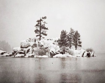 Winter Lake Photograph, Grey Wall Art, Winter Photography, Big Bear Lake, Snowy, Reflection, Winter Home Decor, 8x10, 11x14, 16x20