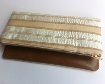 Leather and shimmery silk clutch bag